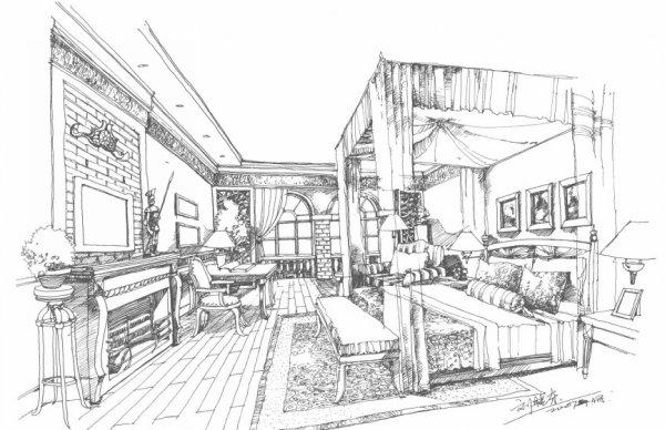 室内设计结构空间手绘