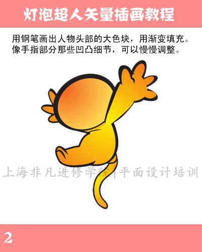 上海illustrator培训—ai绘制可爱的灯泡超人卡通人物