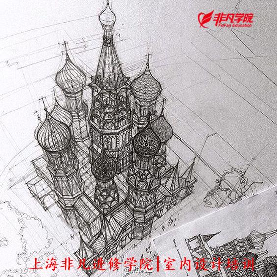 室内景观培训资讯>上海室内手绘效果图培训—大神设计师建筑手绘作品