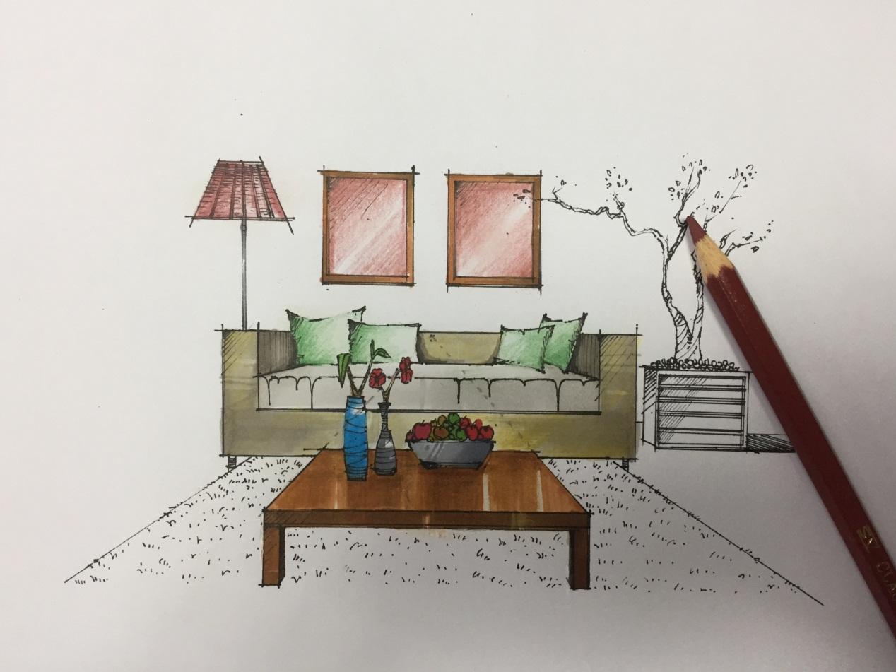 室内手绘效果图培训)橙色彩铅水平排线,颜色一定要盖到沙发和抱枕的