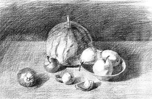 素描:水果的绘制步骤 1,用4b铅笔将餐桌上各类水果的基本造型,按照