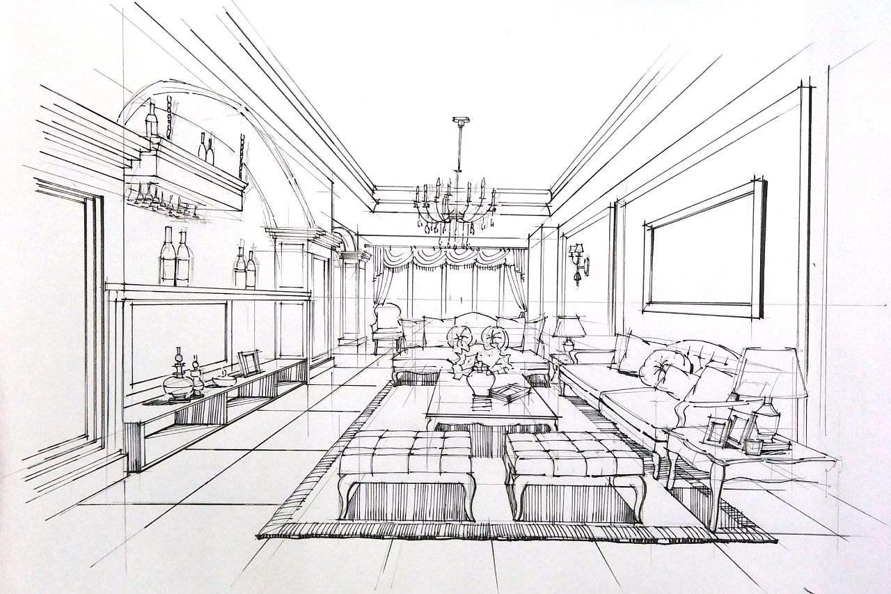 阐述手绘在现代室内设计中的位置,分析表现形式及特色,同时进行线条的