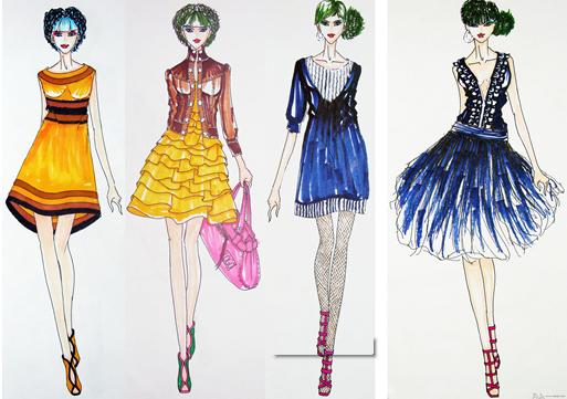 服装设计资讯--服装设计培训教程-时装画的技法表现